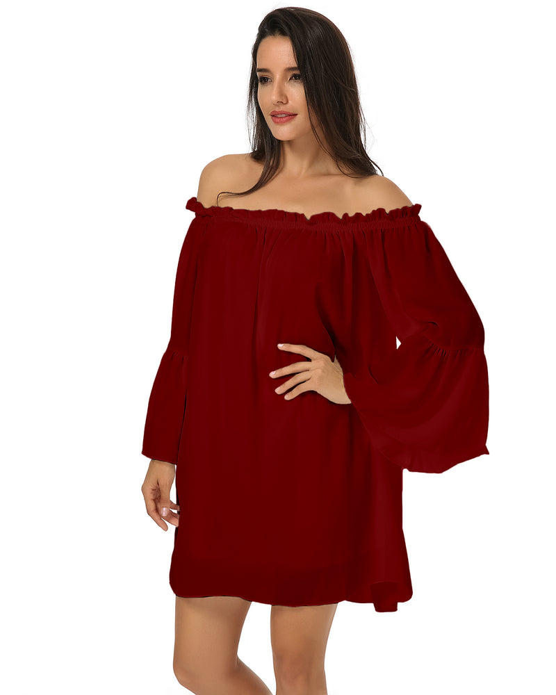 Women's Sexy Bohemian Chiffon Lace Ruffle Sleeve Blouse Mini Dress - Coendy