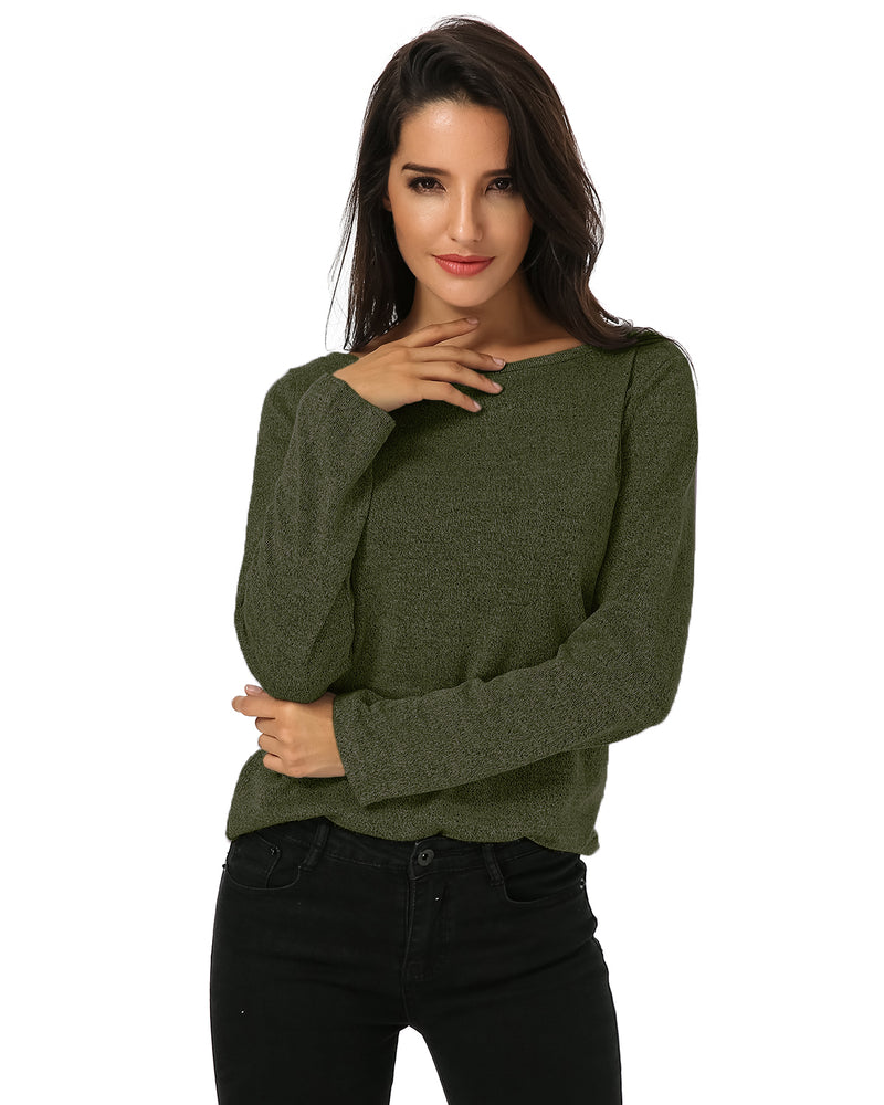 Women's Solid O Neck Loose Knit Tops - Coendy