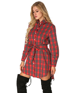 Women's Check Plaid Tunics Casual  Asymmetric Hem Shirt Dress