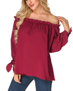 Women's Solid Sexy Pleated Lace-up Cuffs Casual Blouse