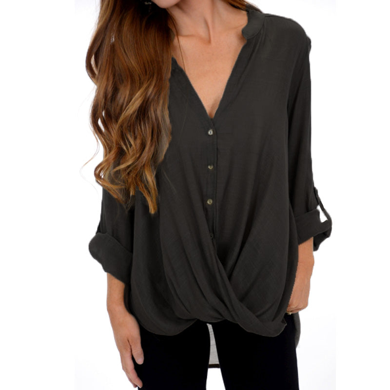 Women's Button Down Sexy Shirts Long Sleeve Tunics Tops Crossed Front Blouse