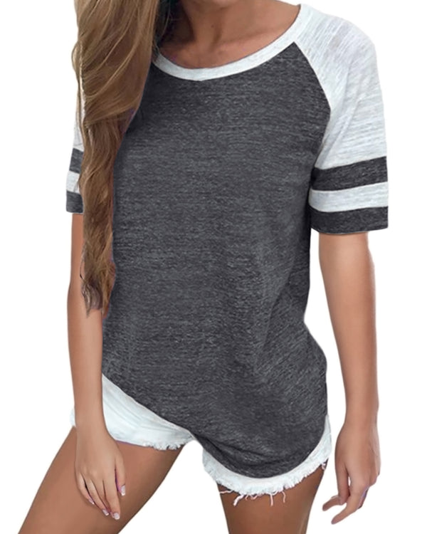 Women's Baseball Striped Casual Tops - Coendy