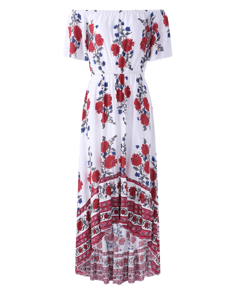 Women's Off The Shoulder Floral Ruffle Beach Asymmetrical Maxi Dress