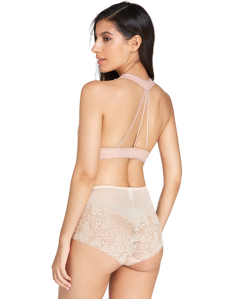 Women Comfort Lace Wireless Triangle Cup Unlined Sexy Bra - Coendy