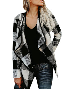 Women Buffalo Plaid Cardigans Long Sleeve Lapel Open Front