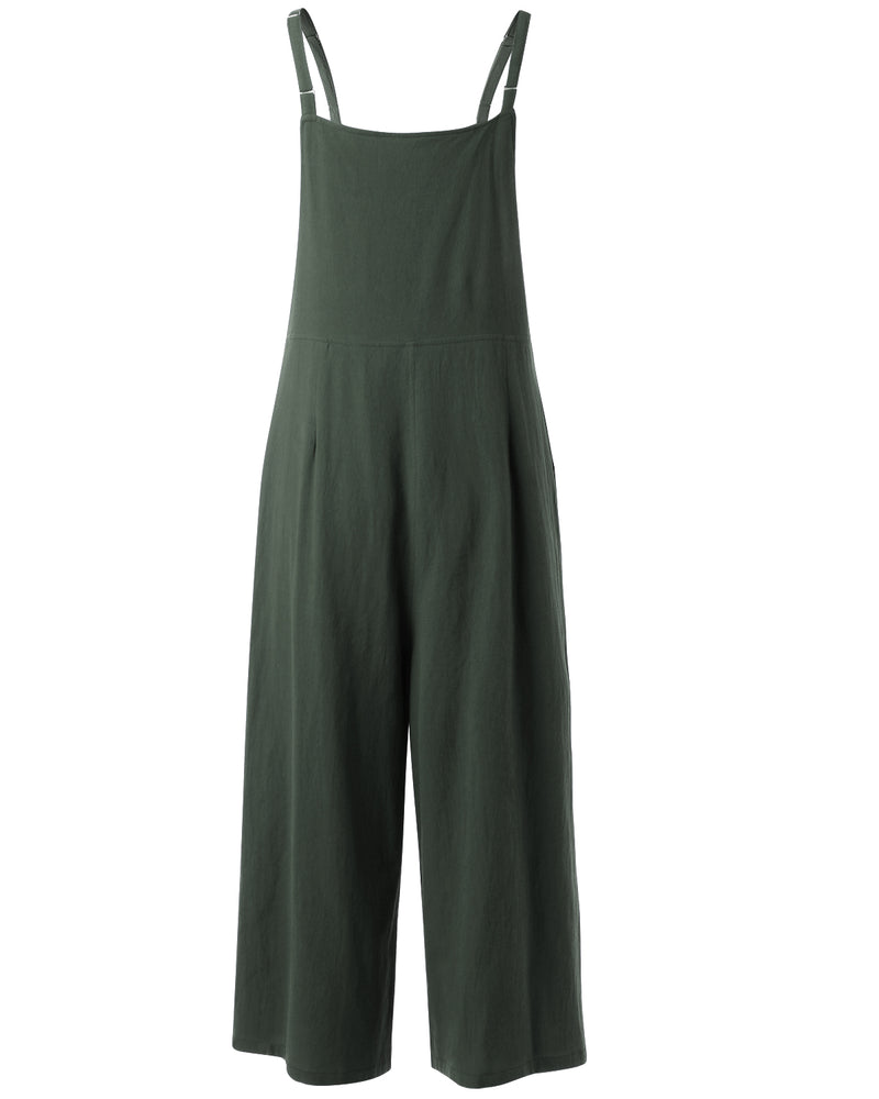 Women Solid Baggy Wide Leg Overalls Loose Casual