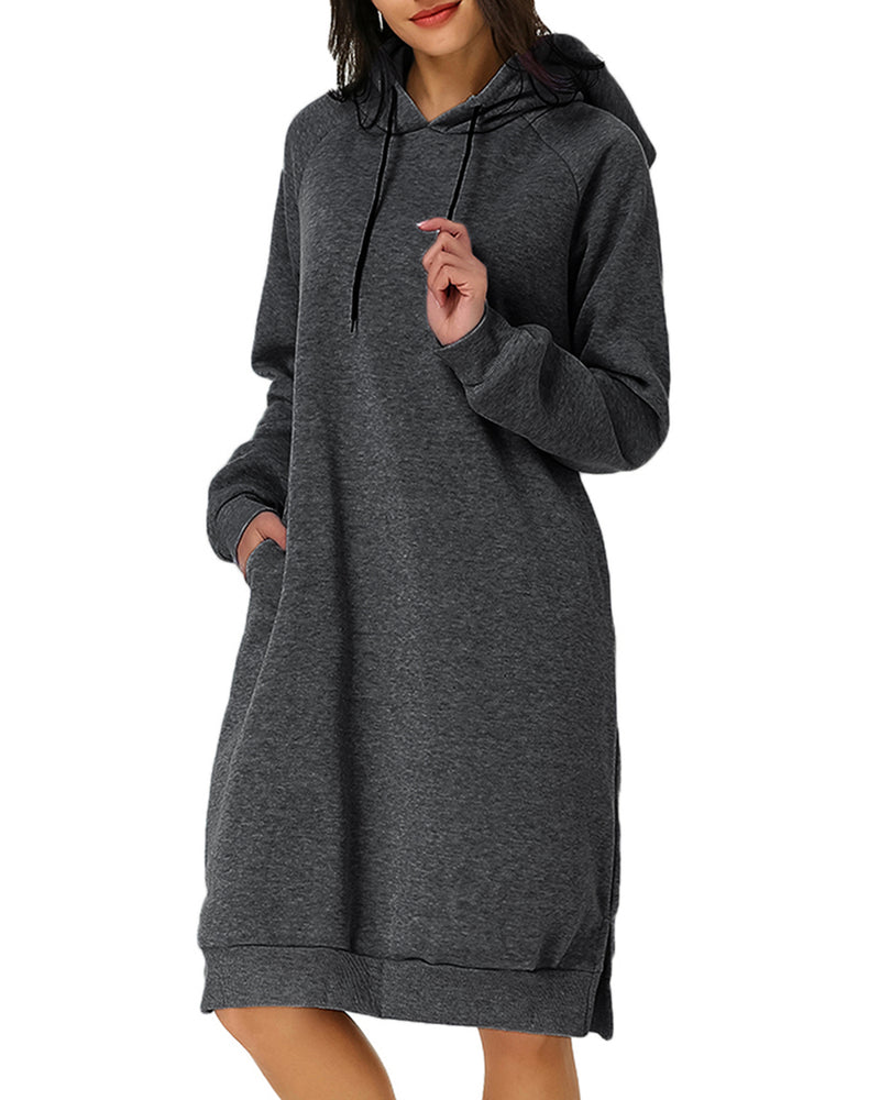Women's Hoodie Long Tunic Dress Solid Pullover