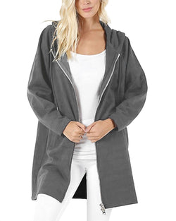 Women's Long Zip Up Hoodies Solid Color Casual Coat