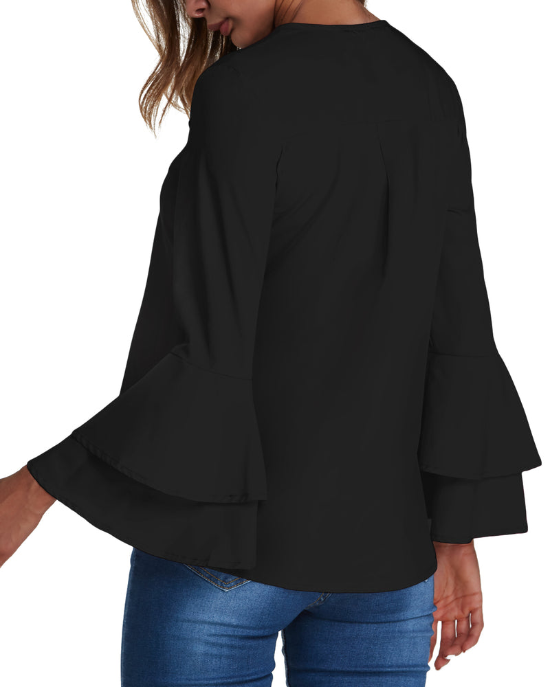 Women's V Neck Shirts Cuffed Sleeve Solid Button Down Blouse Tops