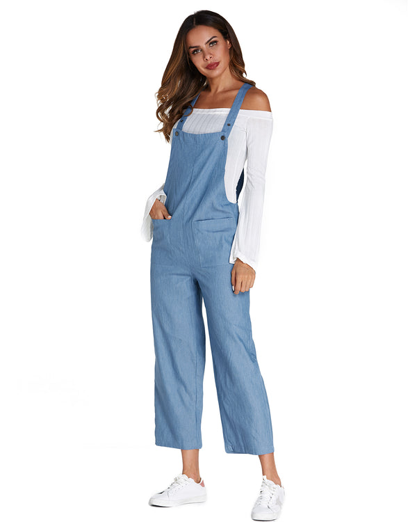 Women Wide Leg Plus Size Loose Casual Denim Bib Pants Rompers