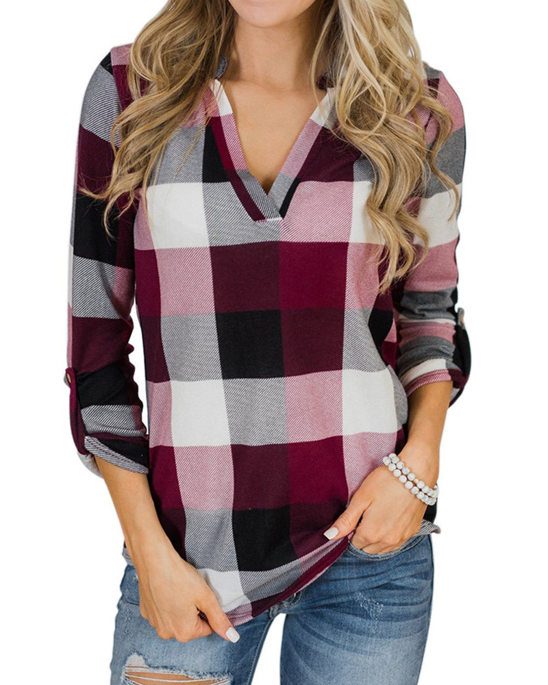 Women Long Sleeves Tops Plaid Blouse V Neck Casual