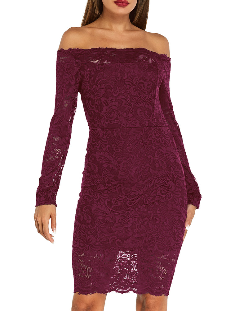 Women Sexy Lace Bodycon Elegant Dress - Coendy