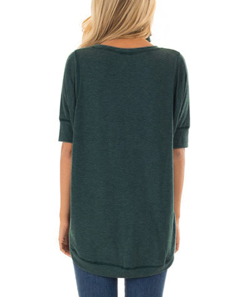 Short Sleeves T-Shirt for Women Casual V Notch Solid