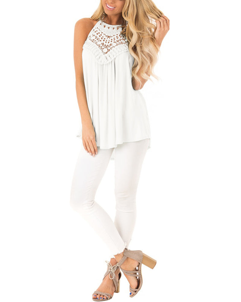Women's Cold Shoulder Hollow Out Halter Neck Vest - Coendy