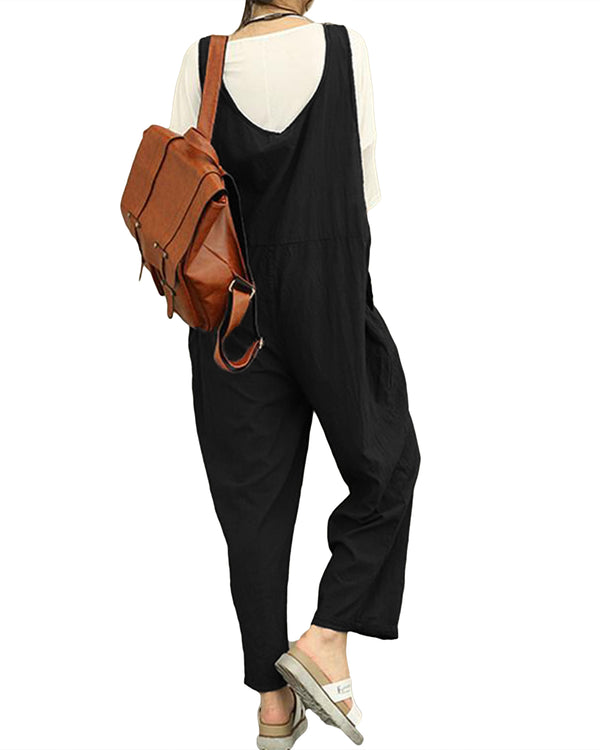 Women's Casual Jumpsuits Baggy Romper Sleeveless Bib Overalls with Pockets
