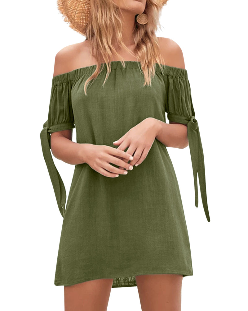Women's Off Shoulder Mini Dress Strapless Sexy Casual