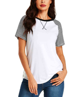 Womens Striped Patchwork Short Sleeves T-Shirt Casual Loose Basic Tops