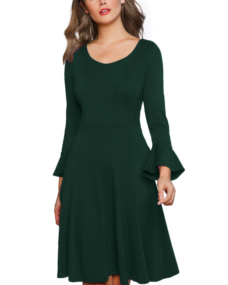 Women Long Sleeve Elegant A Line Solid Midi Dress