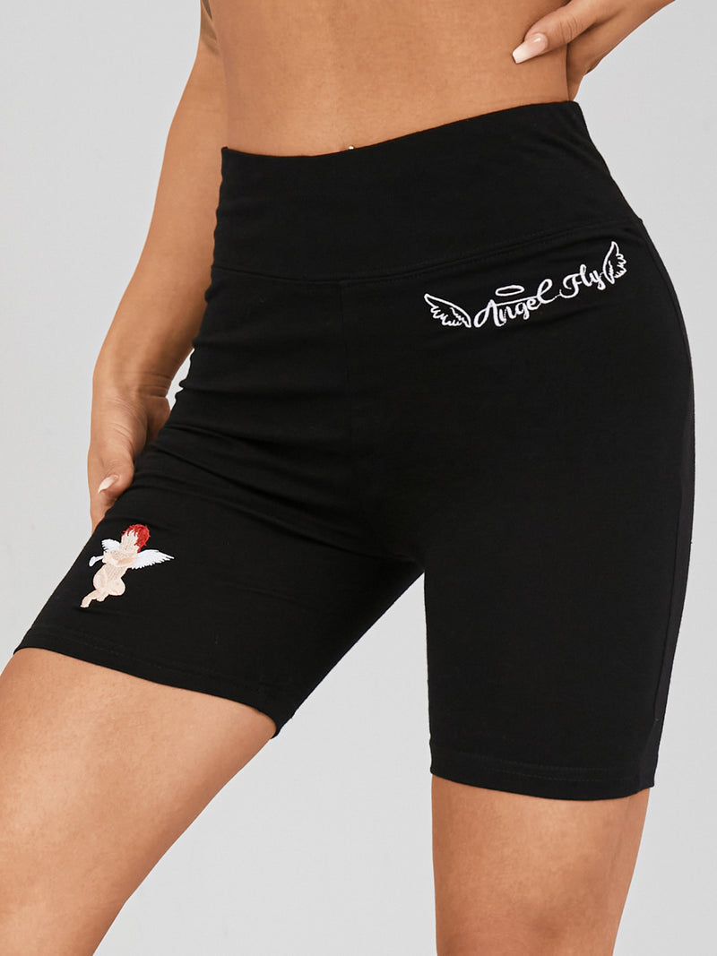 Women Prent Waistband Solid Stretch Slim Yoga Sport Shorts