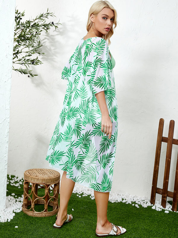 Beach Summer Chiffon Tie-up Tropical Hawaii Half Sleeves Cover Up