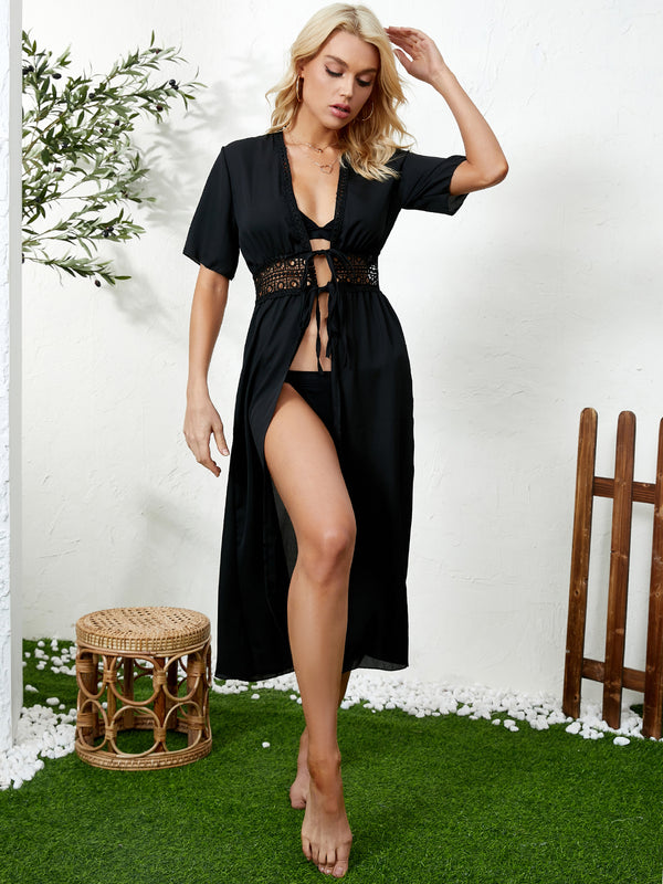 Solid Waist Hollow Tie-up Short Sleeves Calf Length Beachwear Cover Up
