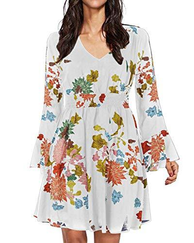 Women Boho Floral Split Flowy Party Dress - Coendy