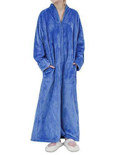 Sunnyme Women Long Robes Soft Warm Flannel Sleepwear BOTTOMS Coendy B-blue Large