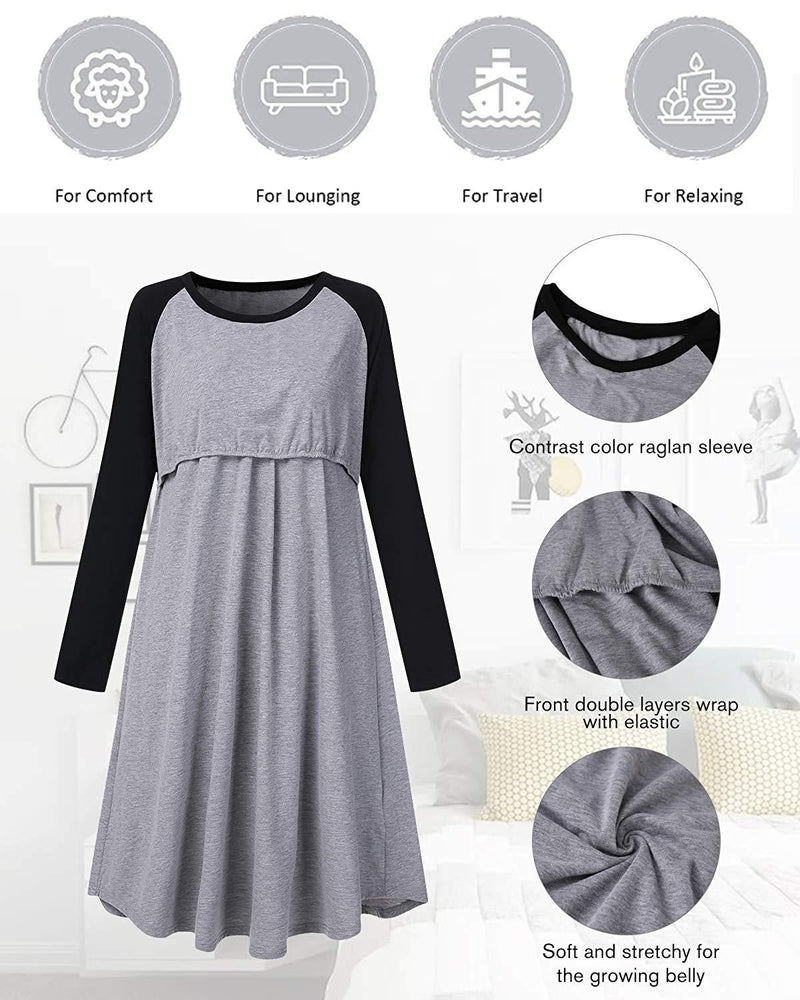 Women Maternity Dress Sleepwear Nightdress - Coendy
