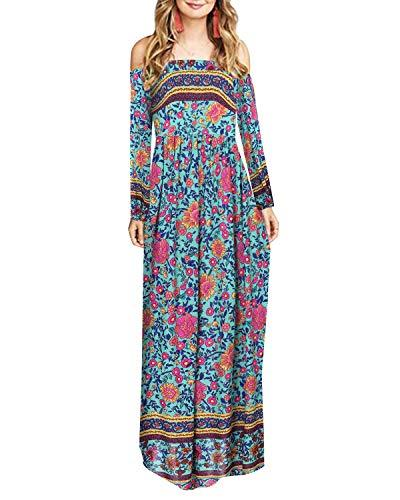 Sunnyme Women Maxi Bohemian Off Shoulder Long Dress DRESSES Coendy A-green Small