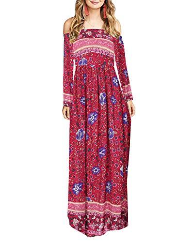 Women Maxi Bohemian Off Shoulder Long Dress - Coendy