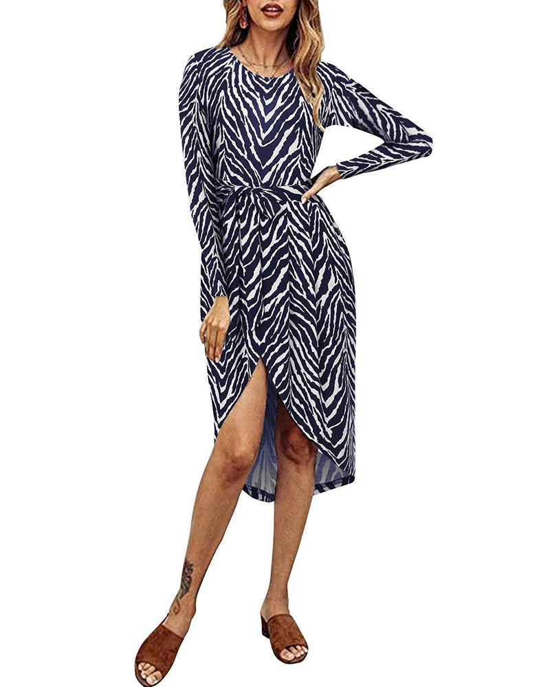 Women Ruched Bodycon 3/4 Sleeve Mini Dress - Coendy