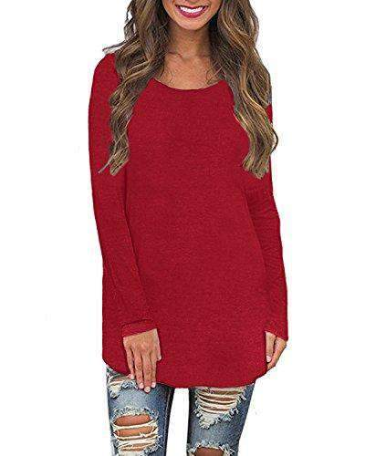Women Shirts Solid Casual Tops Plus Size - Coendy