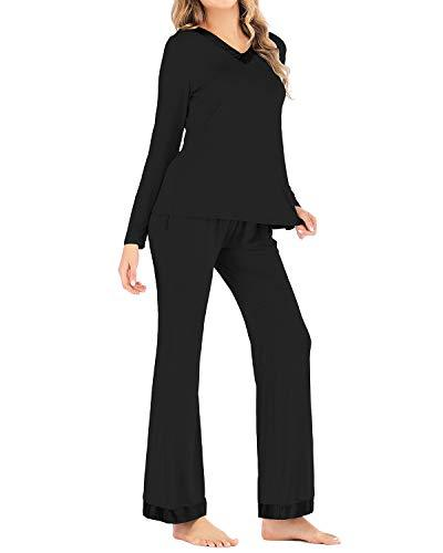 Sunnyme Women Sleepwear Button Down Loungewear Sets BOTTOMS Coendy B-black Small
