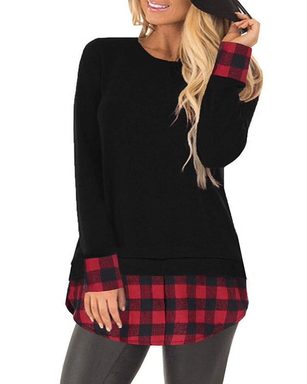 Women's Plaid  Flannel Shirts Tees - Coendy