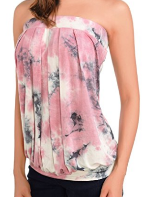 Women's Tube Tops Tie Dye/Solid Sleeveless Pleated