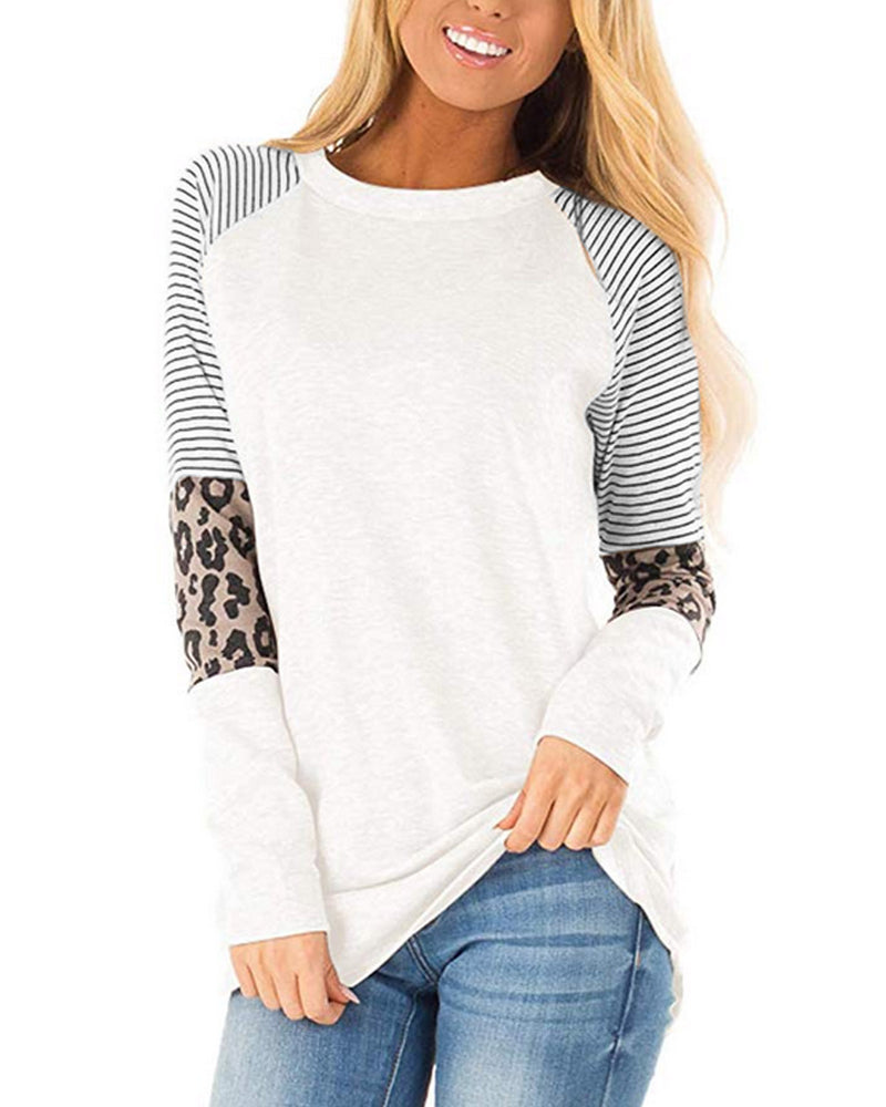 Womens Casual Long Sleeve Round Neck T-Shirts Color Block Striped