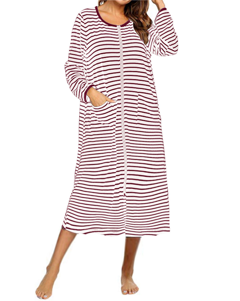 Womens Pajamas Long Sleeve Zip-Front Sleepwear Nightgowns with Pockets