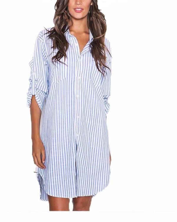 Women Casual Vertical Stripe  Blouse Mini Shirt Dress - Coendy