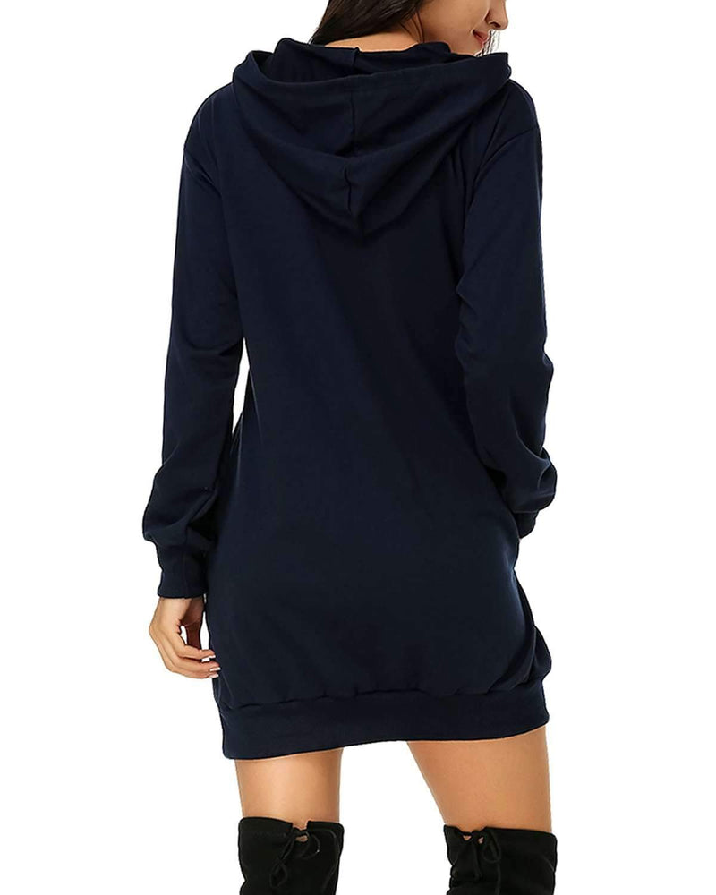 Women Hooded Pullover Tunic Sweatshirt Plus Size - Coendy