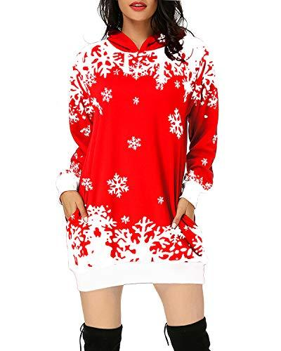 Women Hooded Pullover Tunic Sweatshirt TOPS Coendy 01-christmas-red Small