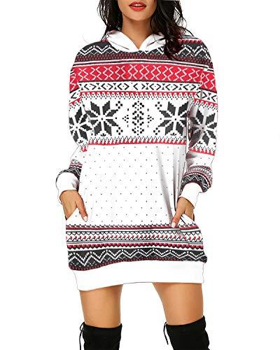Women Geometric Rhombus Print Hooded Pullover - Coendy