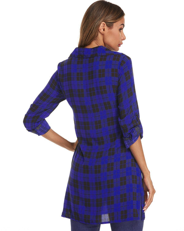 Women Sexy Slim Plaid Lace Up Shirt Blouse Mini Dress - Coendy