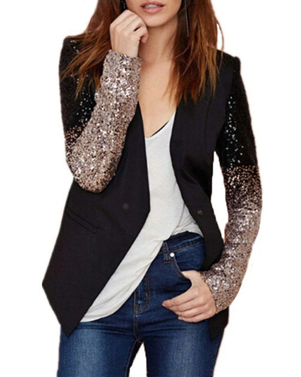 Womens Office Sequins Blazer Jacket Coat Plus Size COATS Coendy Gold S