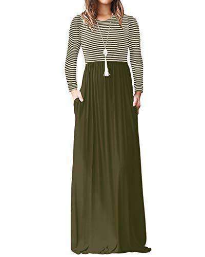 Yoins Women Maxi Dress Casual Long Dresses DRESSES Coendy Long Sleeve-army Green X-Large