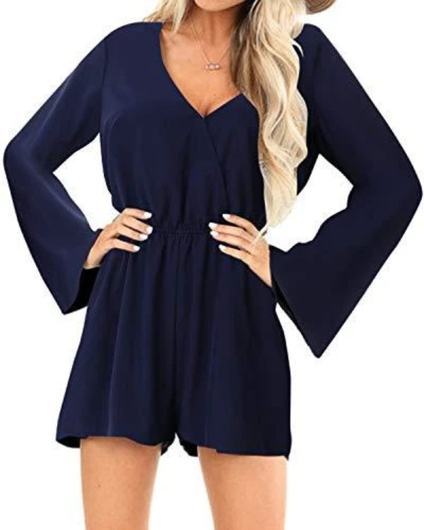 Yoins Women Rompers Sexy High-Waisted Overalls DRESSES Coendy Long Sleeves-navy Small