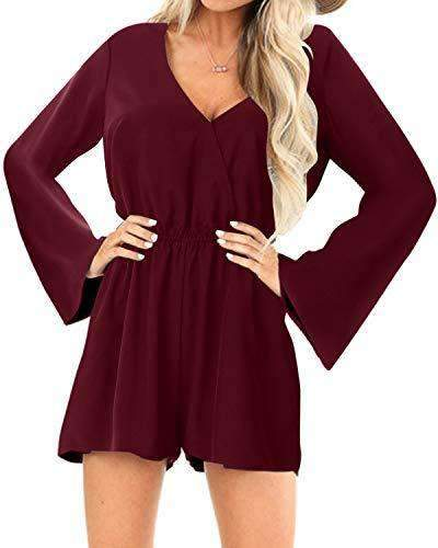 Yoins Women Rompers Sexy High-Waisted Overalls DRESSES Coendy Long Sleeves-wine Red Small