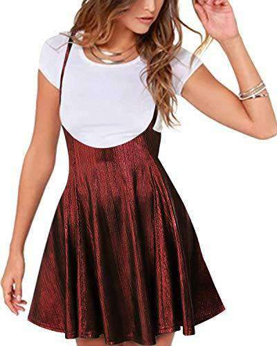 Yoins Women Suspender Skirt Basic High Waist Dress DRESSES Coendy Sequins-burgundy Small