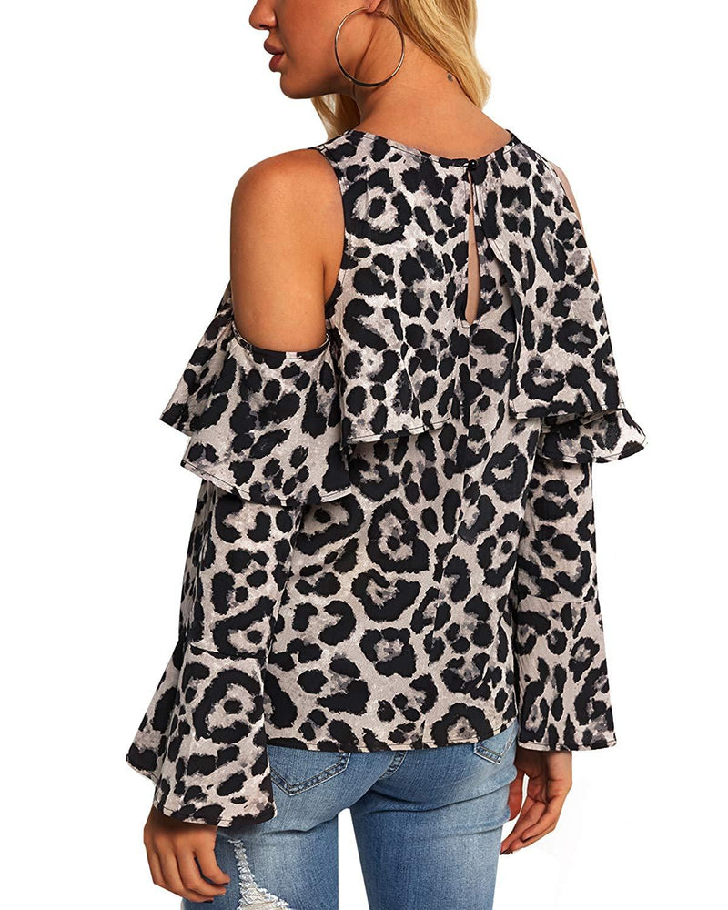 Women Tops Leopard Bell Sleeve Flouncy Blouse - Coendy