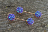 Purple Druzy Rose Gold Nipple Barbells Nipple Piercings