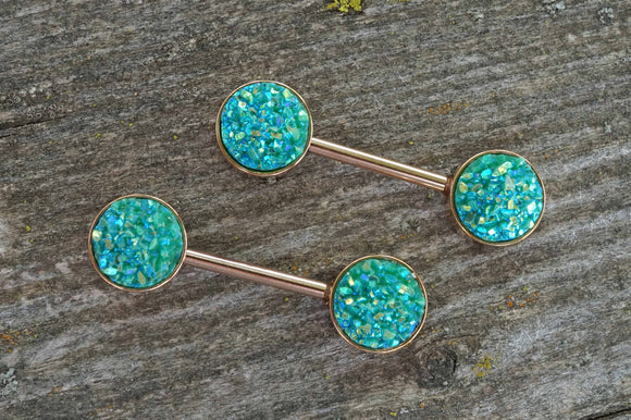 Teal Druzy Rose Gold Nipple Barbells Nipple Piercings